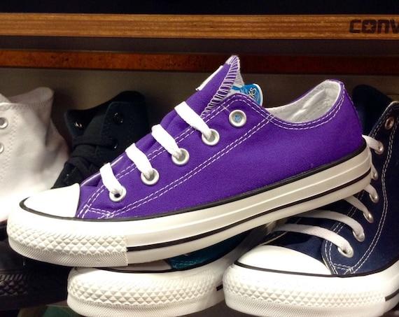 Purple Converse Low Top Grape Custom Bling Wedding Kicks Kids w/ Swarovski Crystal Rhinestone Jewel Chuck Taylor All Star Sneakers Shoes