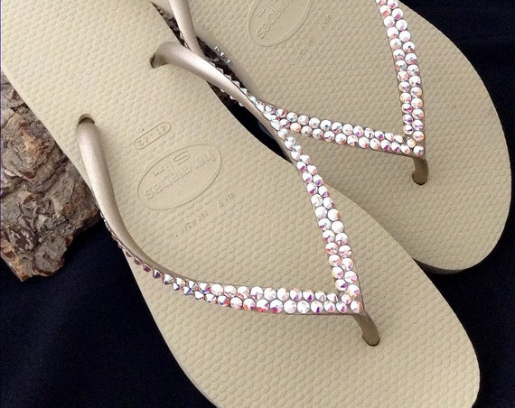 Tan Gold Havaianas Slim Flip Flops Flat Ivory Gray Golden Metallic Beige w/ Swarovski Iridescent Crystal AB Rhinestone Bride Wedding Shoes