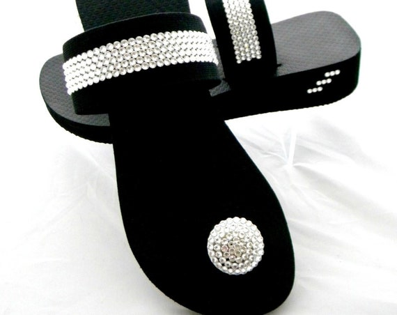 Custom Black Low Wedge heel Crystal Button Flip Flops w/ Swarovski Rhinestone +70 shade choice Jeweled Strap Bling Beach thong shoe