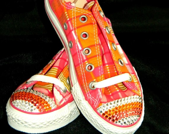 Children Kids Converse Size 12C w/ Swarovski Crystal Bling Rhinestone Jewel Low Top Canvas Pink Orange Plaid Fruit Loop.Sneaker Trainer Shoe