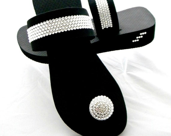 Black Low Wedge heel Crystal Button Flip Flops Custom w/ Swarovski Rhinestone +80 shade choices Jeweled Strap Bling Buttons Beach thong shoe