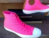 Hot Pink Converse High Top Rain Resistant Canvas Classic Backpack Tassel Fringe w Swarovski Crystal Rhinestone Chuck Taylor All Star Shoes