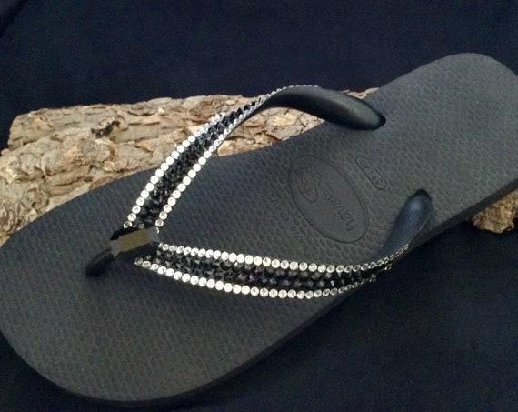 Black Crystal Flip Flops Custom Vintage Baguette Jewel Slim Havaianas Top Cariris Wedge heel Platform w/ Swarovski Rhinestone Sandal Shoe
