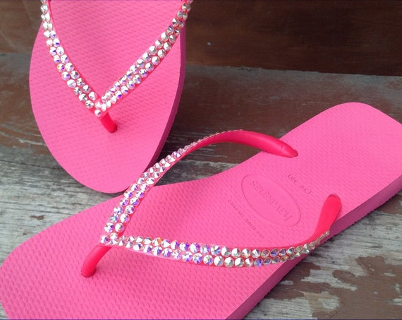 Hot Pink Rose Havaianas Slim flat Flip Flops Rose Fuchsia Custom w/ Swarovski Crystal Rhinestone Thong Bling Ladies Cruise Beach Sandal Shoe