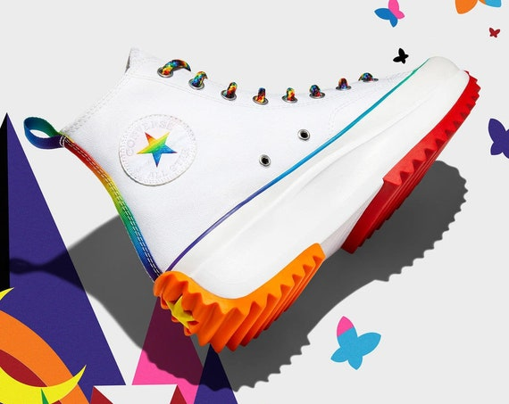Converse Pride 2021 Run Star Hike High LGBTQ Rainbow Platform Wedge Club Kicks w/ Swarovski Crystal Rhinestone Chucks All Star Sneakers Shoe
