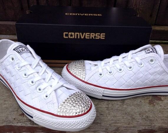 White Lace Crystal Converse W US 8 Woven Basket Weave Crochet Knit w/ Swarovski Chuck Taylor Bling All Star Bridal Wedding Sneakers Shoe