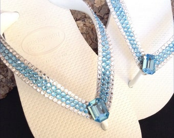 97397e3e9c45f Rose Gold Flip Flops Custom Crystal Flat Havaianas Metallic | Etsy