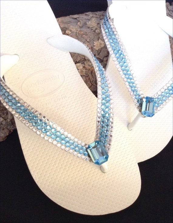 Blue Flip Flops Custom Crystal Aquamarine w/ Swarovski Rhinstone Jewels Havaianas flat Cariris  Wedge Heel Beach Wedding Thong Sandals Shoes
