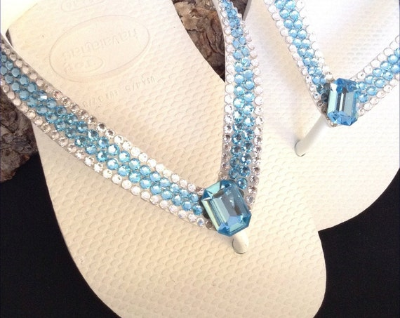 "White Flip Flops Custom Crystal Blue Aqua Bagette w/ Swarovski Rhinestones Havaianas flat Cariris 1.5"" Wedge Heel Beach Wedding Sandal Shoes"