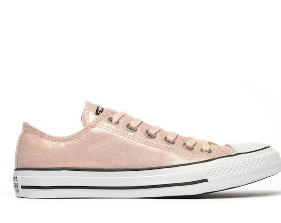 Peach Converse Coral Apricot Twilight Glitter Low Top Custom Bride Sneakers Wedding w/ Swarovski Crystal Rhinestone Jewel Bridal Kicks Shoes