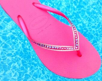 af44fe924 Fuchsia Hot Pink Crystal Flip Flops Havaianas Slim Shimmer Rose Custom w   Swarovski Rhinestone Bling Beach Bridal Wedding Glass Slipper Shoe