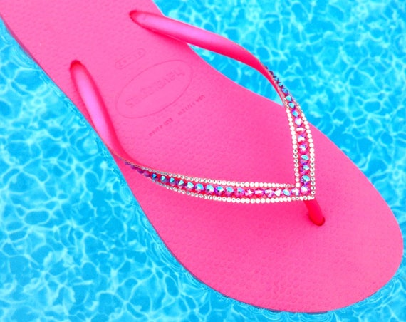 Fuchsia Hot Pink Crystal Flip Flops Havaianas Slim Shimmer Rose Custom w/ Swarovski Rhinestone Bling Beach Bridal Wedding Glass Slipper Shoe