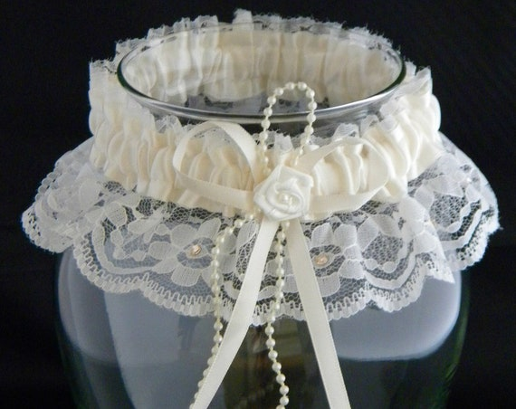 Wedding Garter Belt Tradition toss Ivory Lace Cream Pearl w/custom Swarovski Crystal Rhinestone Jewel Bridal Shower Gift Silk Satin Ribbon