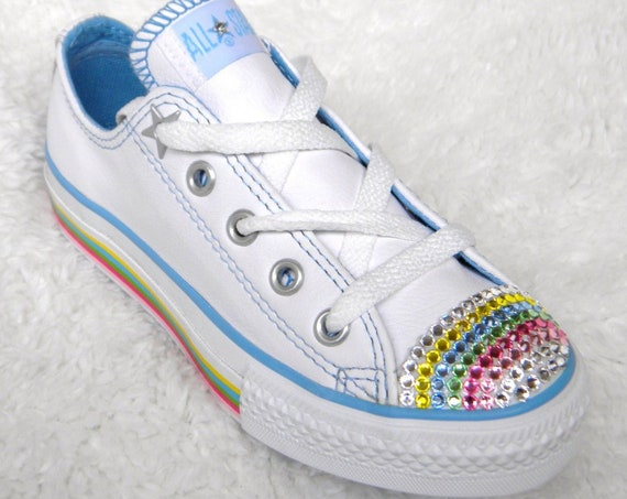 White Leather Toddler Baby Converse Rainbow Kids Children US 11 C w/ Swarovski Crystal Rhinestone Chuck Taylor Low All Star Sneakers Shoes