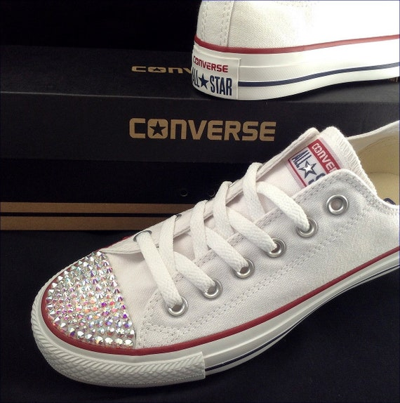 White Converse Children's Kids Baby Toddler Low Top Custom w/ Swarovski Crystal Rhinestone Jewels Chuck Taylor All Star Bride Sneakers Shoes