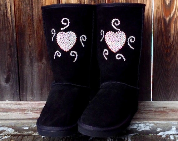 Ladies Tall Custom Crystal Boots w/ Swarovski Bling Wild Heart Support Rhinestone Jewel UGG Australia Wool & Suede Fleece style Winter Shoes
