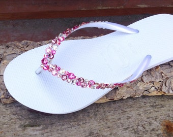 0df7a291c3b773 White Pink Flip Flops Rose Crystal Havaianas Slim w  Swarovski Rhinestone  Beach Sea Glass Slippers Wedding Sandals Bling Jewels Bridal shoes