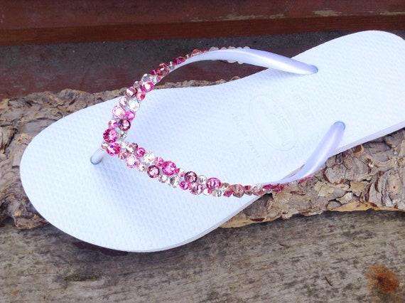 White Pink Flip Flops Rose Crystal Havaianas Slim w/ Swarovski Rhinestone Beach Sea Glass Slippers Wedding Sandals Bling Jewels Bridal shoes