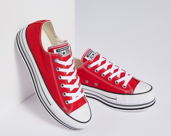 Red Converse Platform heels wedge Classic Cherry  Lift Canvas Low Top Club w/ Swarovski Crystal Chuck Taylor All Star Wedding Sneakers Shoes