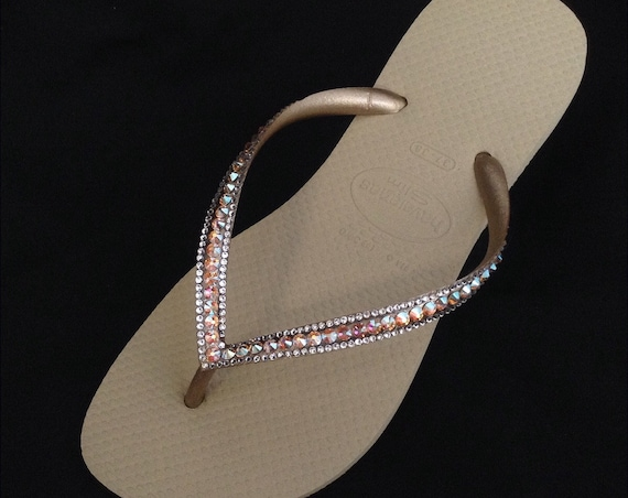 Gold Havaianas Slim Flip Flops Sand Gray Golden Beige Tan Silk Shimmer Custom w/ Swarovski Rhinestones Iridescent Beach Wedding Bridal Shoes