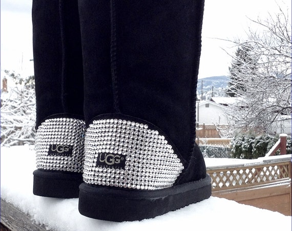 Custom Classic Tall or Short UGG Boots Crystal Heel w/ Swarovski Jewels Dynamite solid Rhinestones Ladies Winter Fall Snow Fashion Shoes