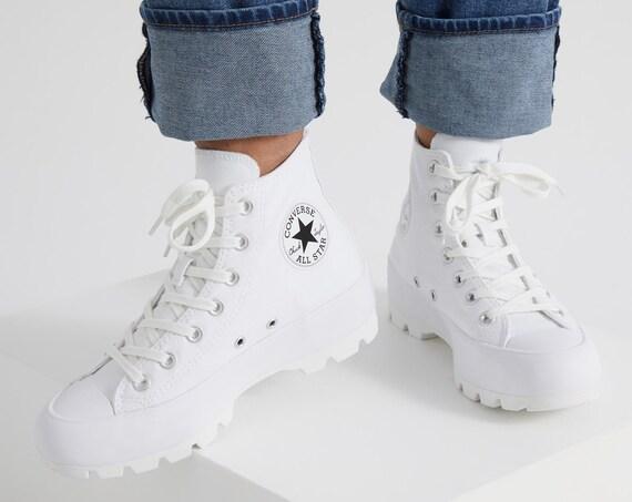White Platform Converse Canvas Wedge High Top Lugged Club Kicks Custom w/ Swarovski Crystal Rhinestone Chuck Taylor All Star Sneakers Shoes