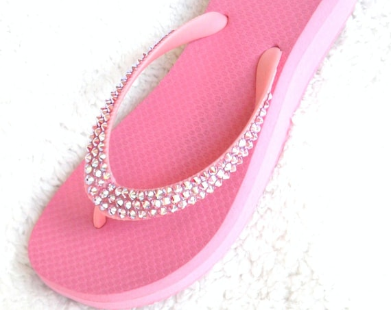"Pink Wedge Heel Crystal Flip Flops w/ Swarovski Rhinestones Custom Bling Bridal Rose Bride sandal Double Bubble Gum 1.5"" Beach Wedding Shoes"