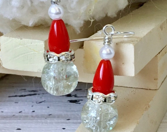 Crystal Santa Hat Elf Earrings Crackle Glass Red Festive Holiday Ornament Christmas Tree Dangle Silver Hypo Titanium Czech Bead Jewelry Gift
