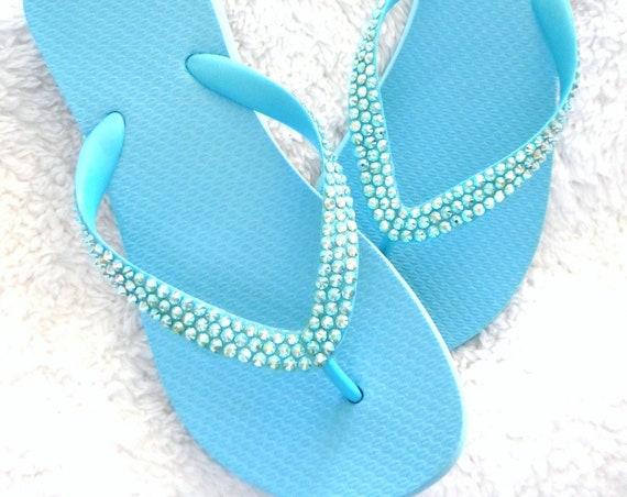 "Baby Blue Flip Flops Sky Aquamarine Custom Crystal Wedge Heels 1.5"" Sandals w/ Swarovski Crystal Rhinestone Jewel Bling Beach Wedding Shoes"