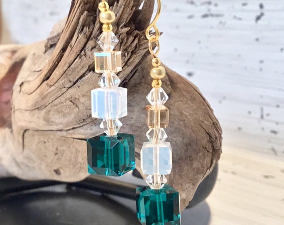 Gift Box Earrings Swarovski Crystal Green Emerald Opal Cube Stack Gold Drop French Hook Hypo Titanium Jewel Bead Christmas Holiday Jewelry