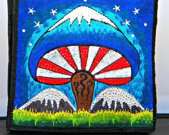 Cross Body Bag Rainbow Hippie Hobo Purse Nepal Custom w/ Swarovski Rhinestone Crystal Mushroom Silk Embroidery Bling Messenger Backpack gift