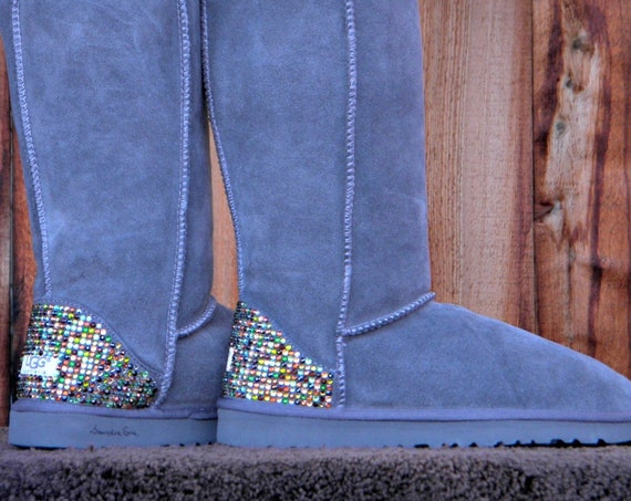Crystal Ladies Tall Short Boot w/ Swarovski Rhinestone Bling Fall Multi Color Heel Design Suede Custom UGG Australia SheepsWool Winter shoes