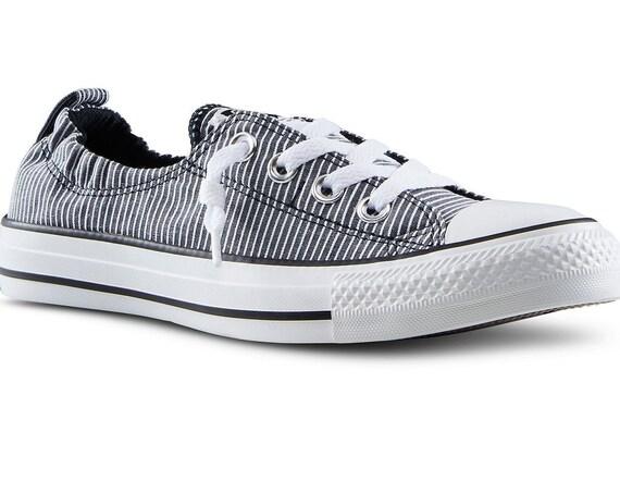 Black Converse Slip on Shoreline Boat Pinstripe White Low Chuck Taylor All Star Custom w/ Swarovski Crystal school Travel Sneakers Shoes