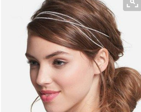Hair Chain Wrap Wedding Head Band Crystal Minimalist Bling Pageant Prom Bride Tiara Silver Rose Gold tone Bridal Jewelry Gift Accessory