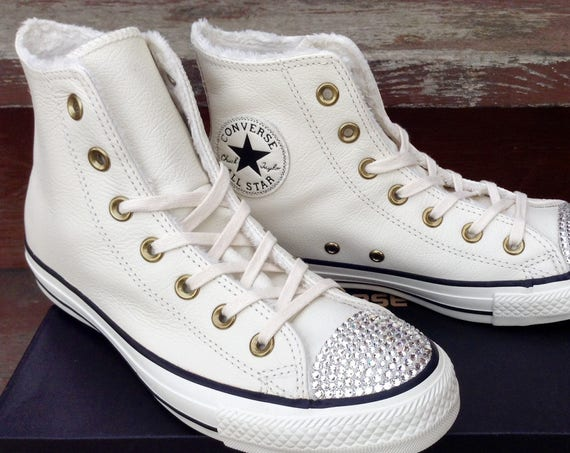 White Converse Leather High Top Boot Fur Lined Ivory Brass W US 8 w/ Swarovski Crystal Bling Chuck Taylor All Star Wedding Sneakers Shoes