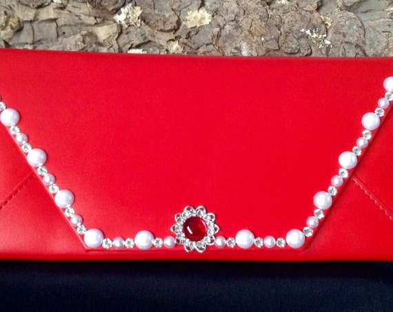 Custom Red Wallet Ladies w/ Swarovski Crystal Pearl Clutch Custom Billfold Change Purse iPhone Case Fashion Envelope Cardholder Tote Gift