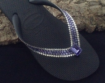 73e327a997481 Purple Crystal Flip Flops Custom Bling w  Swarovski Rhinestone Jewel Blue  Tanzanite Havaianas flat or Wedge Heel Beach Thong wedding Shoes