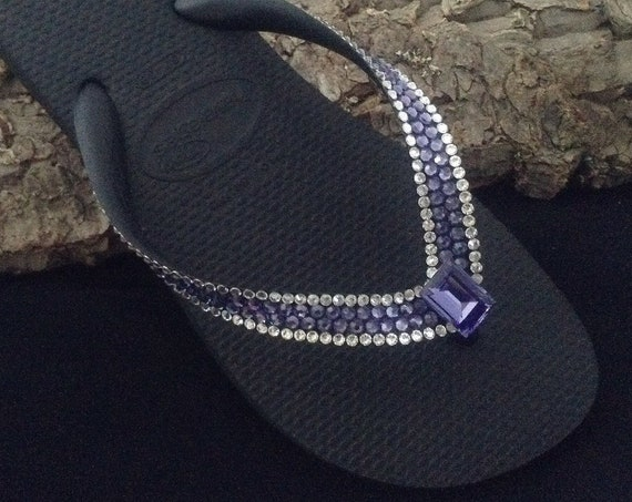 Purple Crystal Flip Flops Custom Bling w/ Swarovski Rhinestone Jewel Blue Tanzanite Havaianas flat or Wedge Heel Beach Thong wedding Shoes