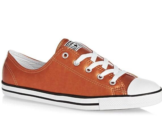 Copper Rose Gold Converse Dainty Slip on Leather Metallic Custom w/ Swarovski Crystal Rhinestone Chucks Star Orange Wedding Sneakers Shoes
