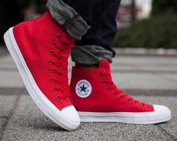 Red Converse High Top Mens Ladies Chuck Taylor II Mono Canvas w/ Swarovski Crystal Rhinestones Jewels All Star Wedding Sneakers Bridal Shoes
