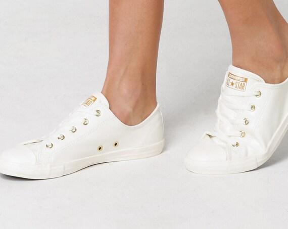 White Ivory Converse Dainty W US 8 Leather Gold Bride Slip on w/ Swarovski Crystal Rhinestone Chuck Taylor All Star Wedding Sneakers Shoes