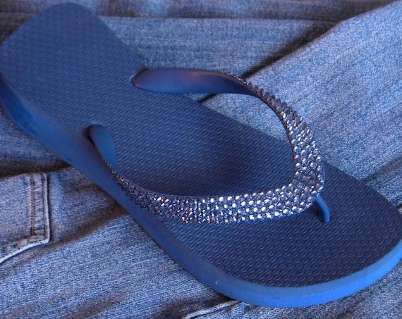 Navy Blue Crystal Flip Flops w/ Swarovski Denim Jean Marine Rhinestone Bling Mother of Bride Havaianas Cariris Flat or 1.5 Wedge Heels Shoes