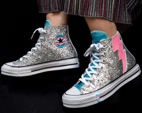 70s Pride Converse LGBTQ 2019 Rainbow Pink Blue Silver High Top Glitter Lightning Chuck Taylor w/ Swarovski Crystal All Star Sneakers Shoes