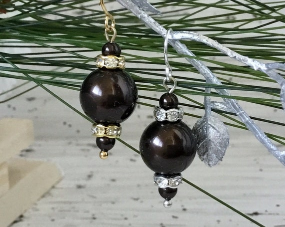 Dark Brown CoCo Chandelier Pearl Earring Swarovski Crystal Pearls Elegant Gold Silver Drop Dangle Hooks Titanium Hypo Allergy Ladies Gifts