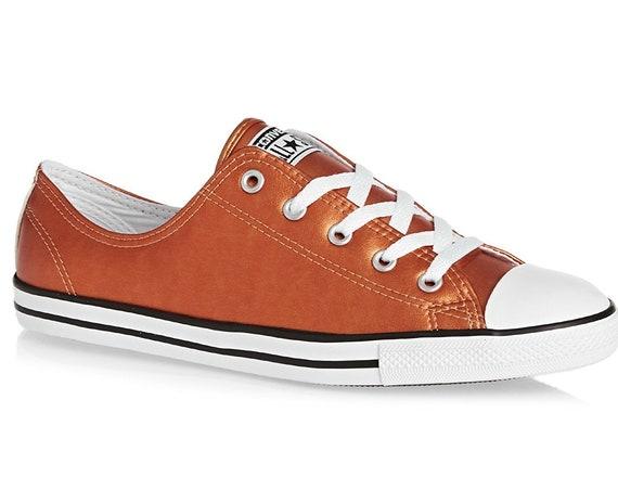 Copper Converse Dainty Wedding Slip on Leather Gold Glass Slipper Custom w/ Swarovski Crystal Rhinestone Chuck Taylor All Star Sneakers Shoe