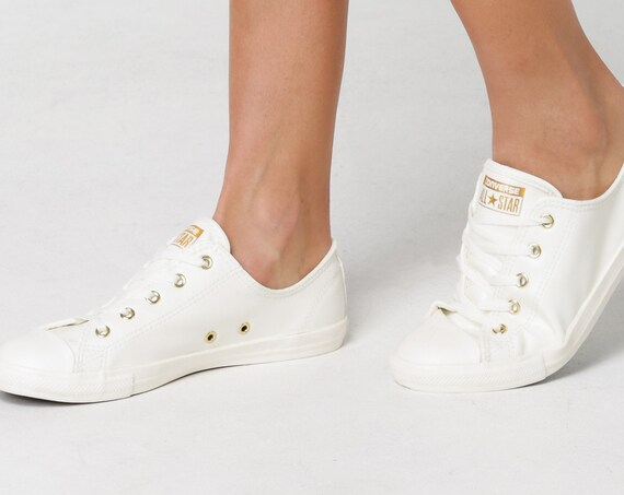 White Ivory Converse Dainty Leather Gold US 8 Bride Slip on w/ Swarovski Crystal Rhinestone Chuck Taylor All Star Wedding Sneakers Shoes