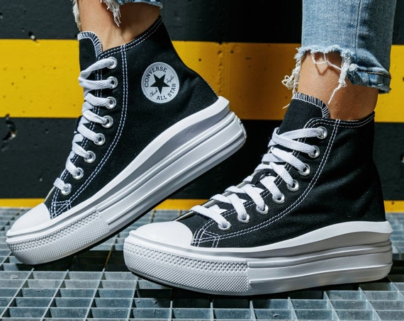 Converse Move on Black White High Top Boot Platform Wedge Lift Club Kicks w/ Swarovski Crystal Rhinestone Chuck Taylor All Star Sneaker Shoe