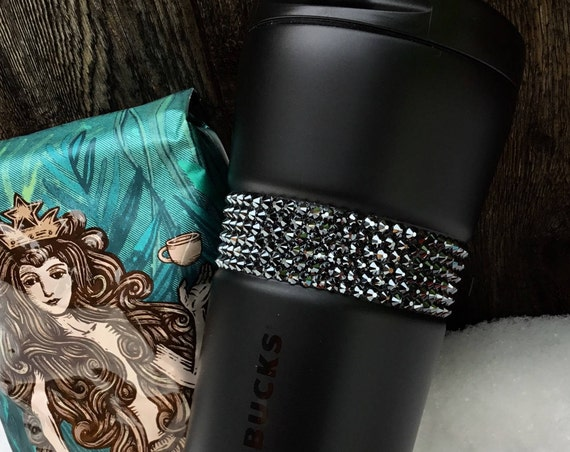 Starbucks Cup Stainless Steel Swag Matte Black w/ Swarovski Crystal 16 Grande Custom gift Travel Coffee Tea Tumbler Jet Hematite Rhinestones