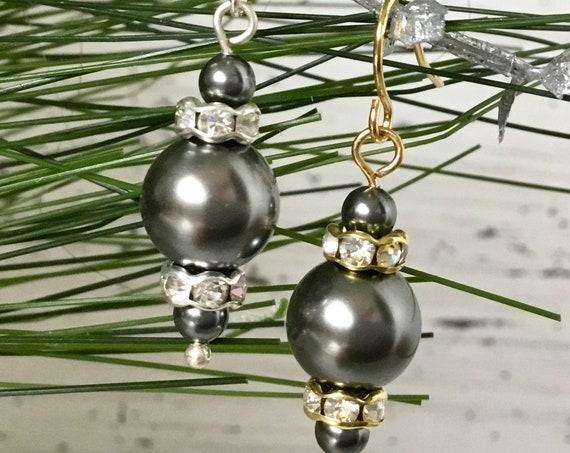 Dark Gray Chandelier Pearl Earrings Swarovski Crystal Pearls Elegant Grey Silver Gold Drop Dangle Hooks Titanium Hypo Allergy Ladies Gift