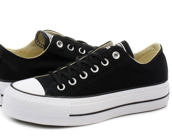 Platform Converse heel wedge Black Canvas Low Top Club w/ Swarovski Crystal Rhinestone Chuck Taylor All Star Wedding Bridal Sneakers Shoes